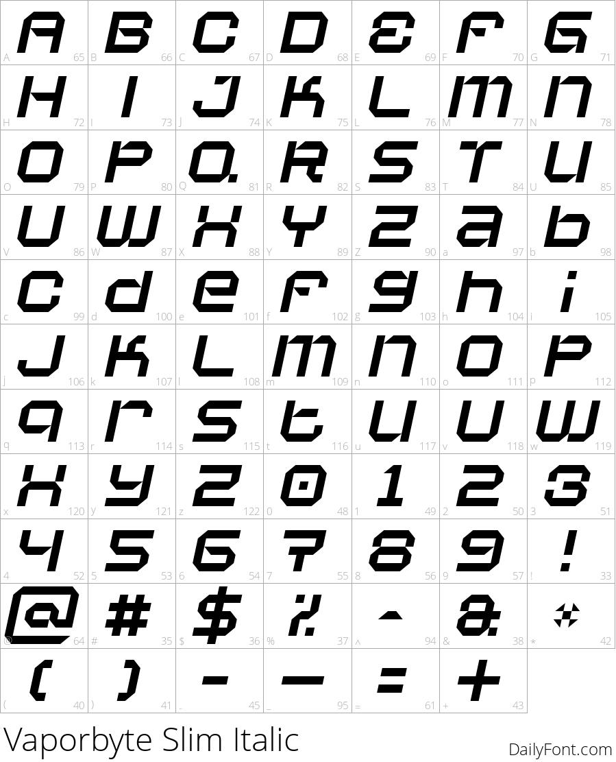 Vaporbyte Slim Italic character map