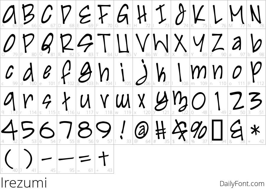Irezumi character map