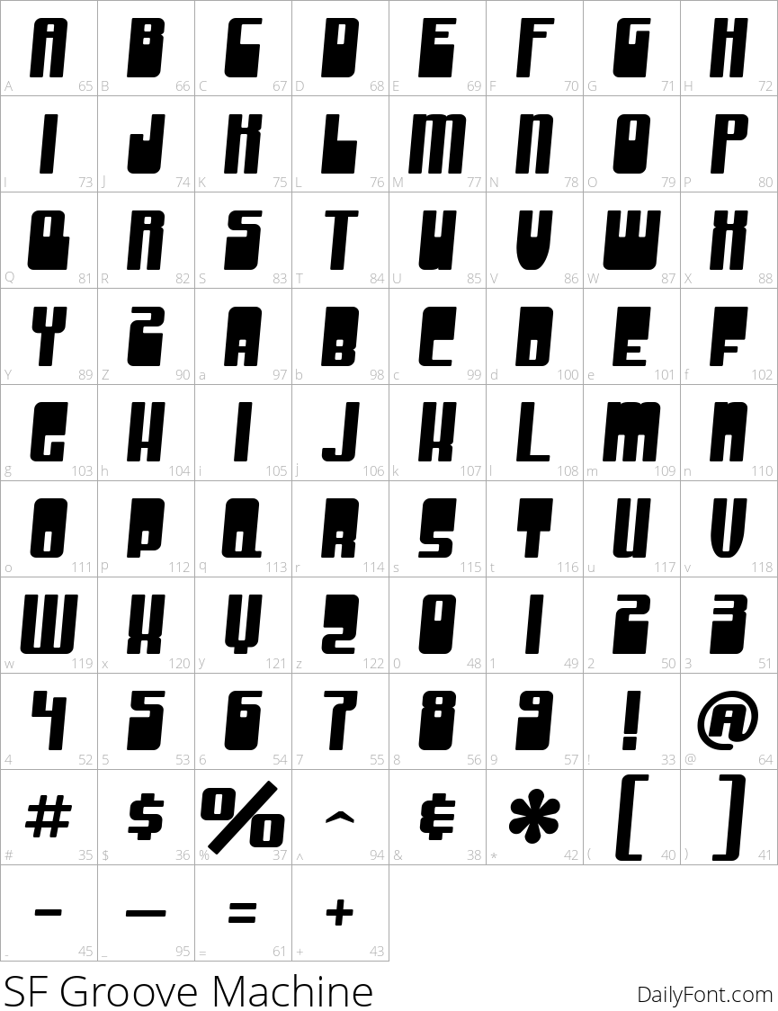 SF Groove Machine character map