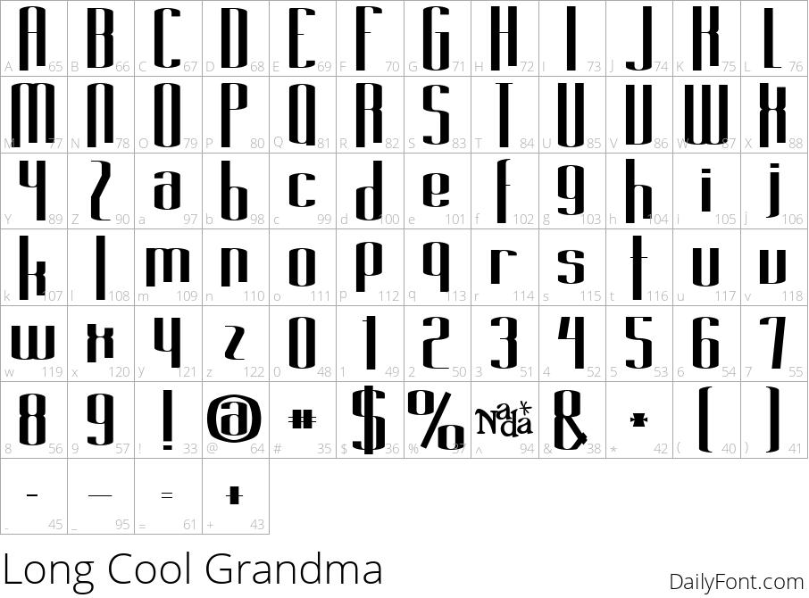 Long Cool Grandma character map