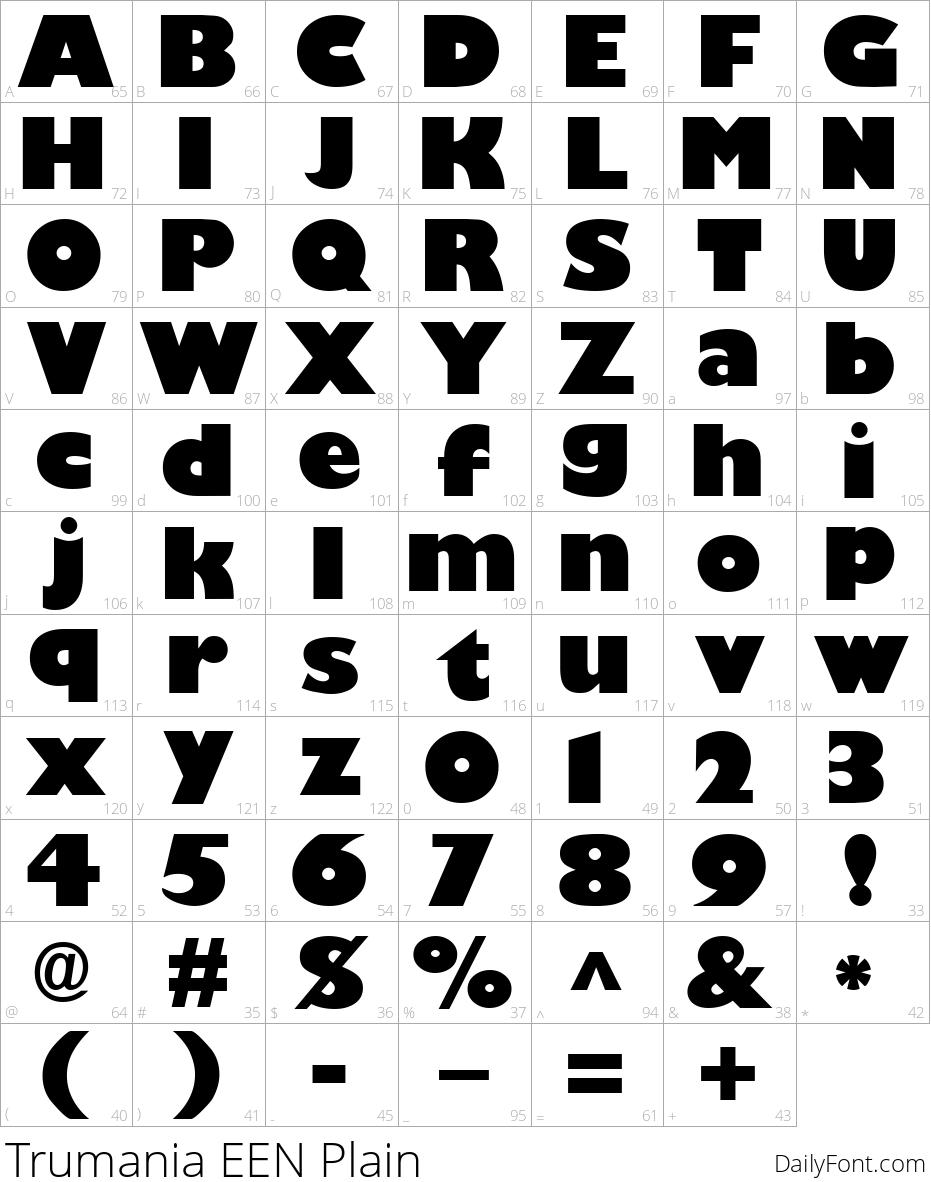 Trumania EEN Plain character map