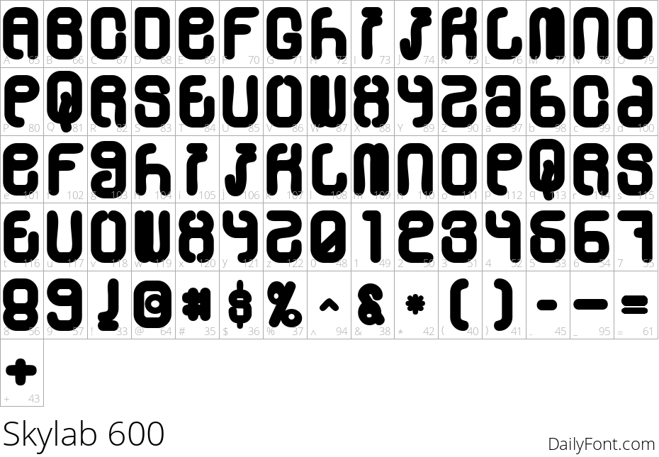 Skylab 600 character map