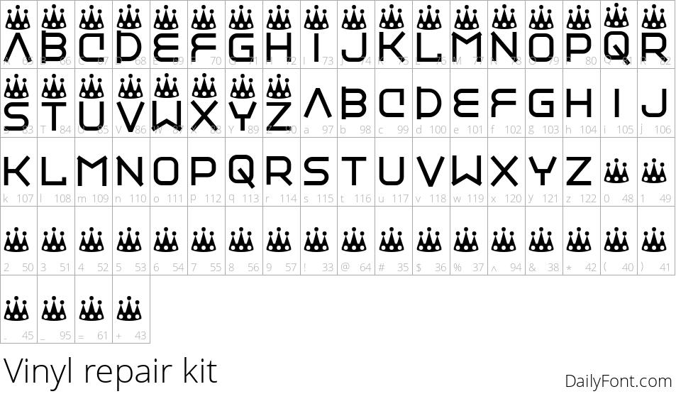Vinyl repair kit character map