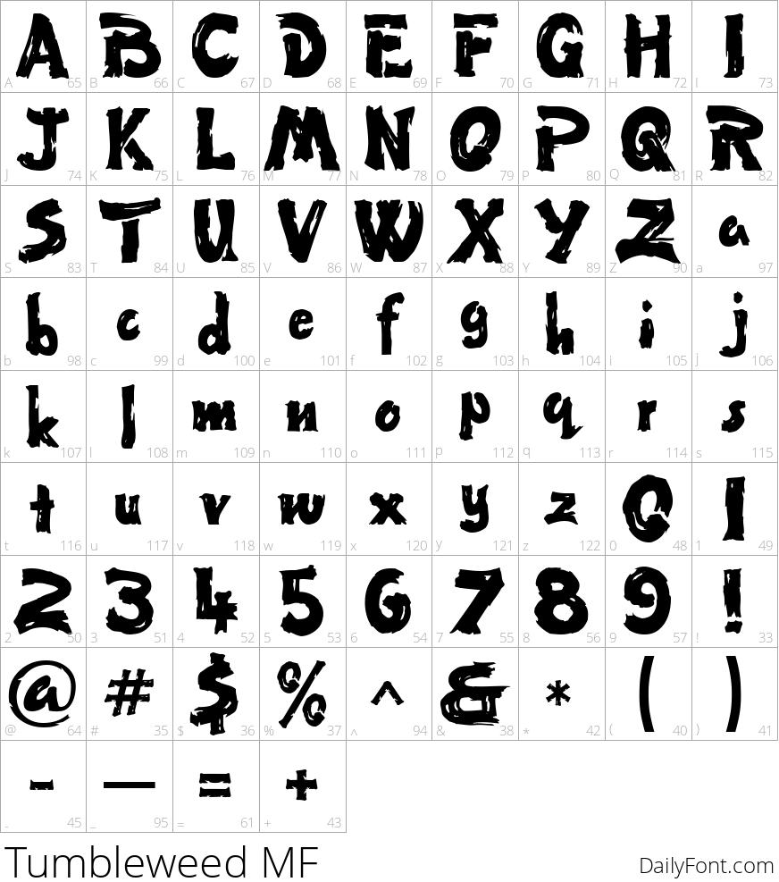 Tumbleweed MF character map