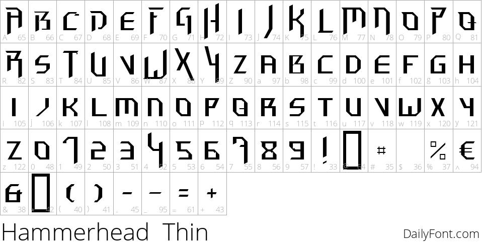 Hammerhead  Thin character map