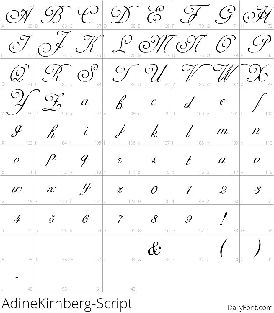AdineKirnberg-Script character map