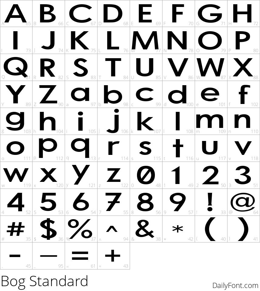 Bog Standard character map