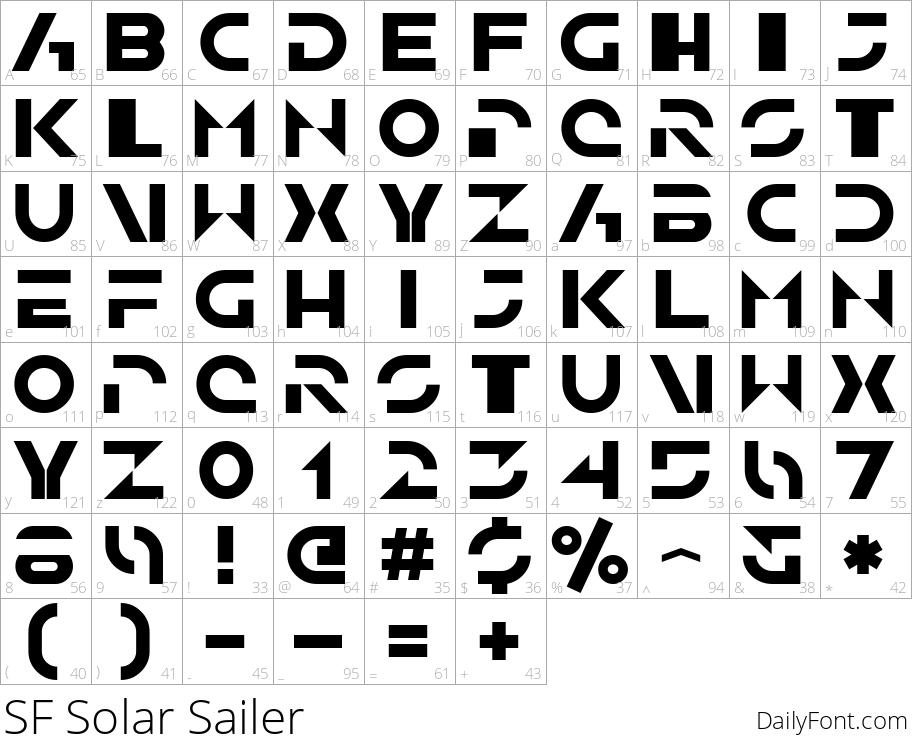 SF Solar Sailer character map