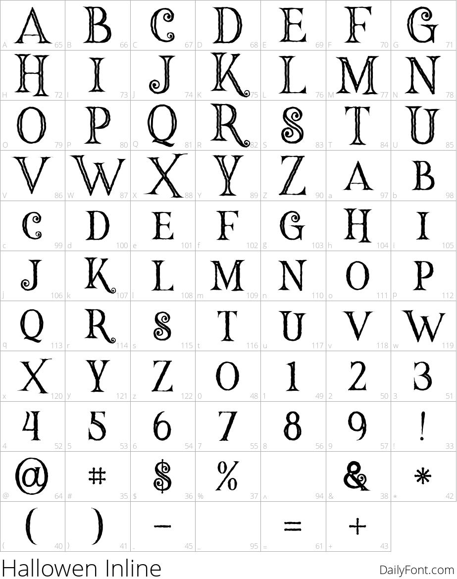Hallowen Inline character map