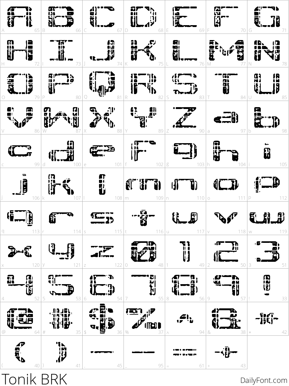 Tonik BRK character map