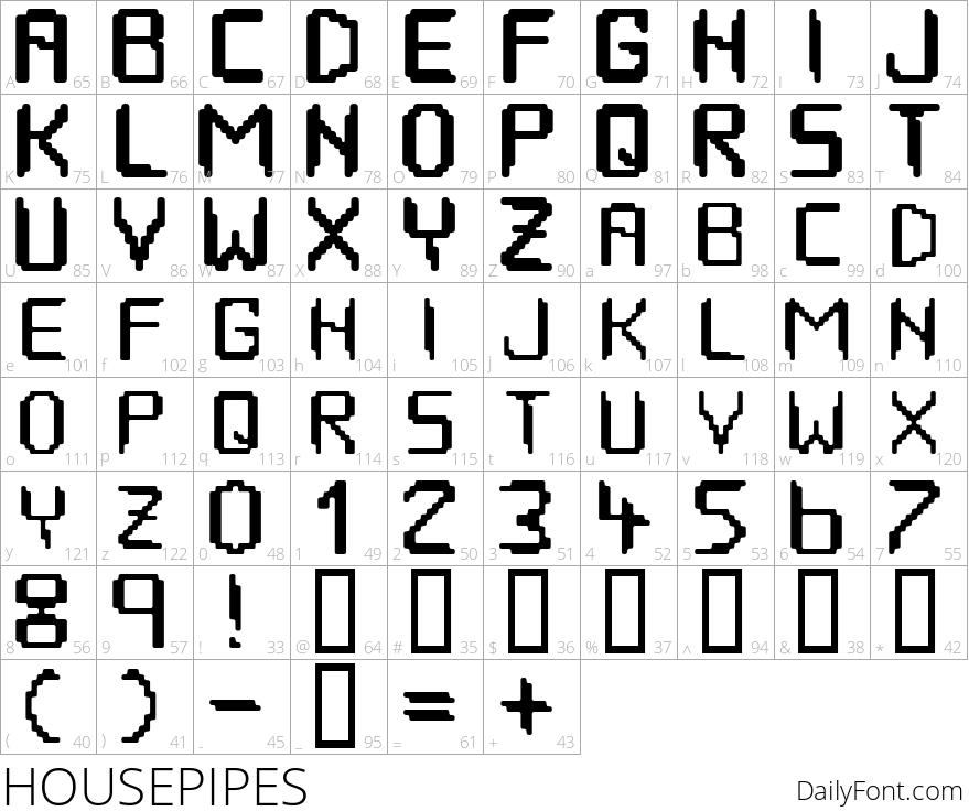 HOUSEPIPES character map