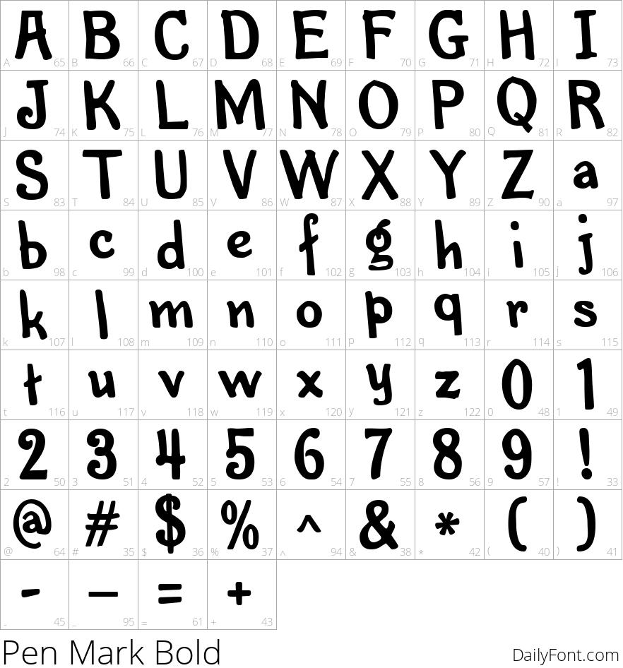 Pen Mark Bold character map