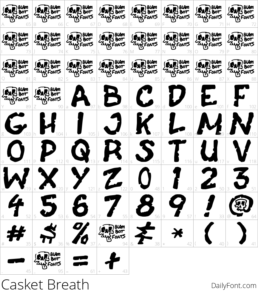 Casket Breath character map
