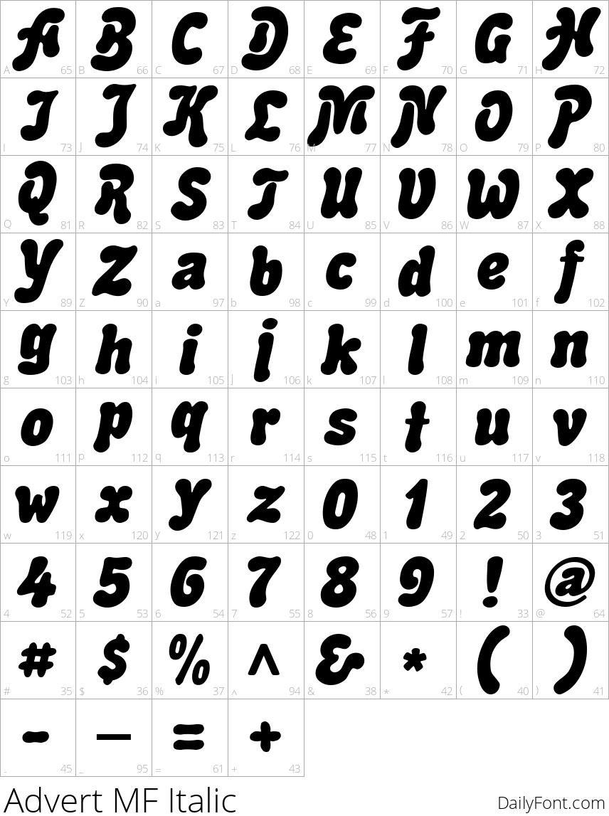 Advert MF Italic character map